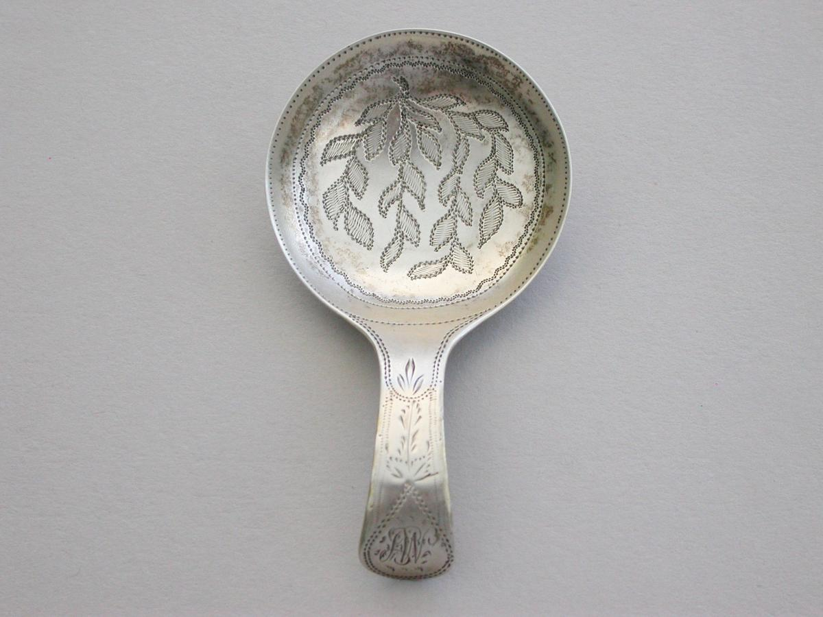 Small George III Silver Bright-Cut Caddy Spoon