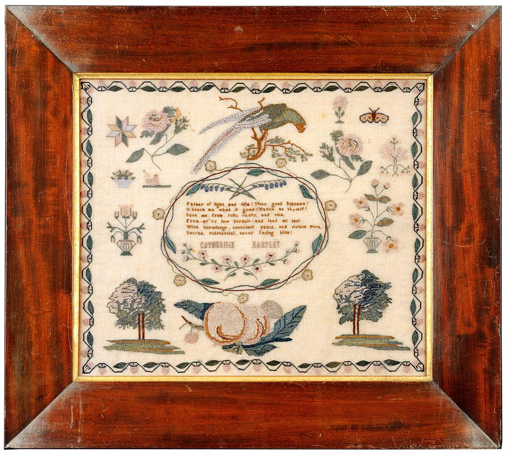 An Attractive Sampler by Catherine Hartley, circa 1835