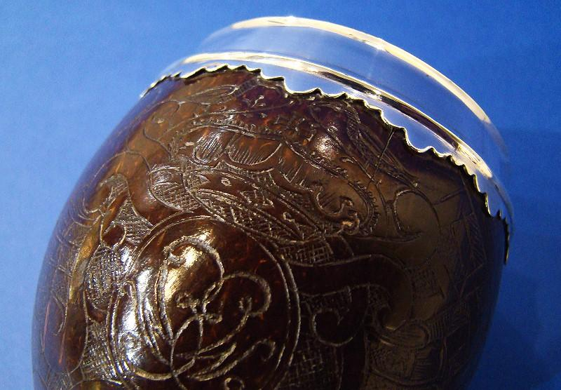 18th Century Silver Small Coconut-Shell Wine Goblet