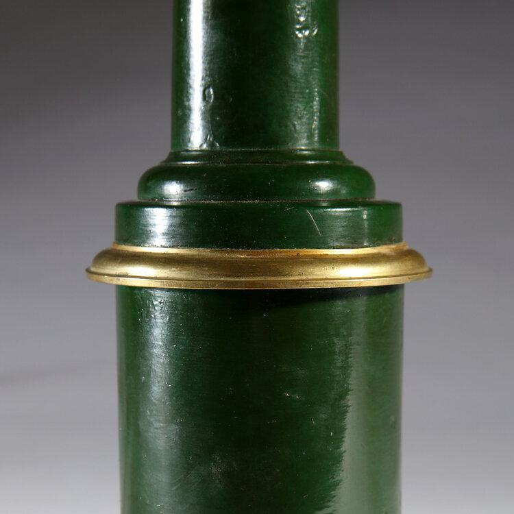 A Pair of 19th Century Green Tole Lamps