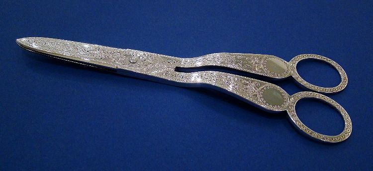 Victorian Silver Grape Scissors in Original Fitted Case