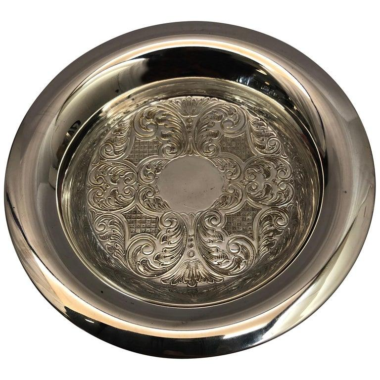 Silver Plate Circular Dish with Embossed Decoration & Broad Rim