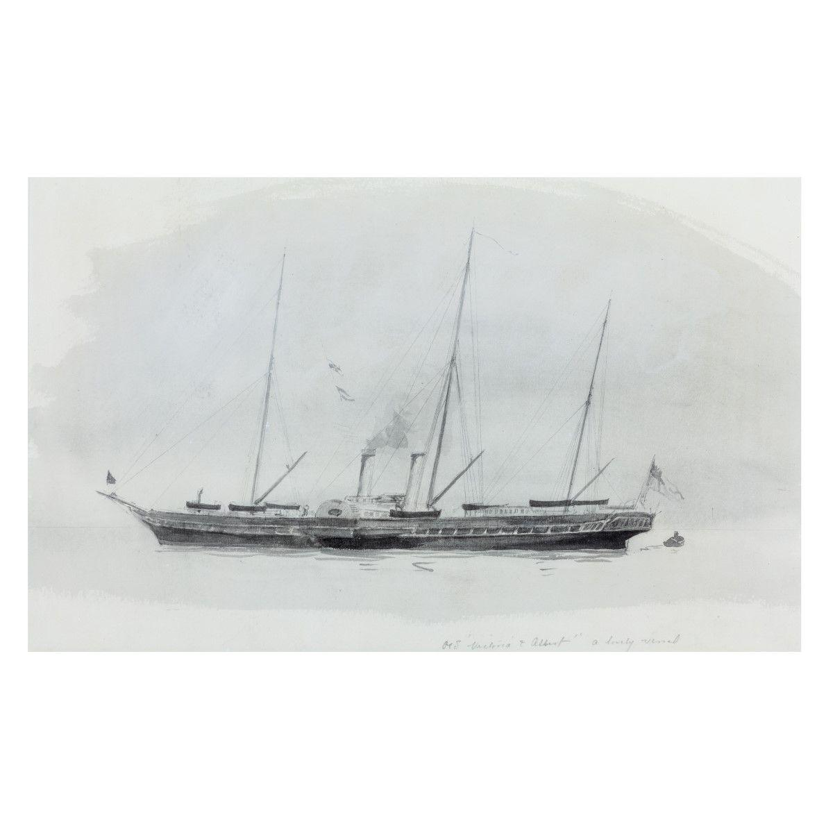 'Victoria and Albert a lovely vessel' Watercolour of the Royal yacht by Harold Wylie