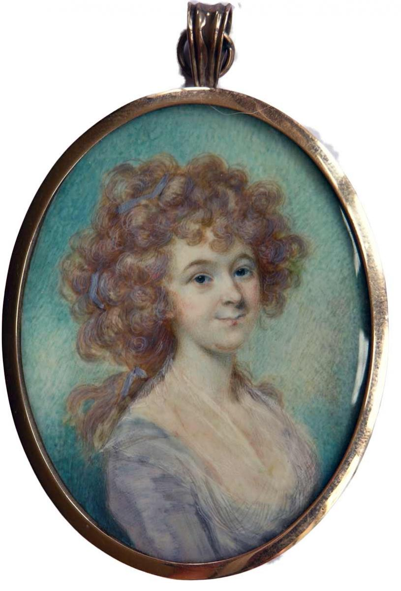 A Portrait Miniature Of An Unknown Lady With Auburn Coloured Hair, John Russell, 1788
