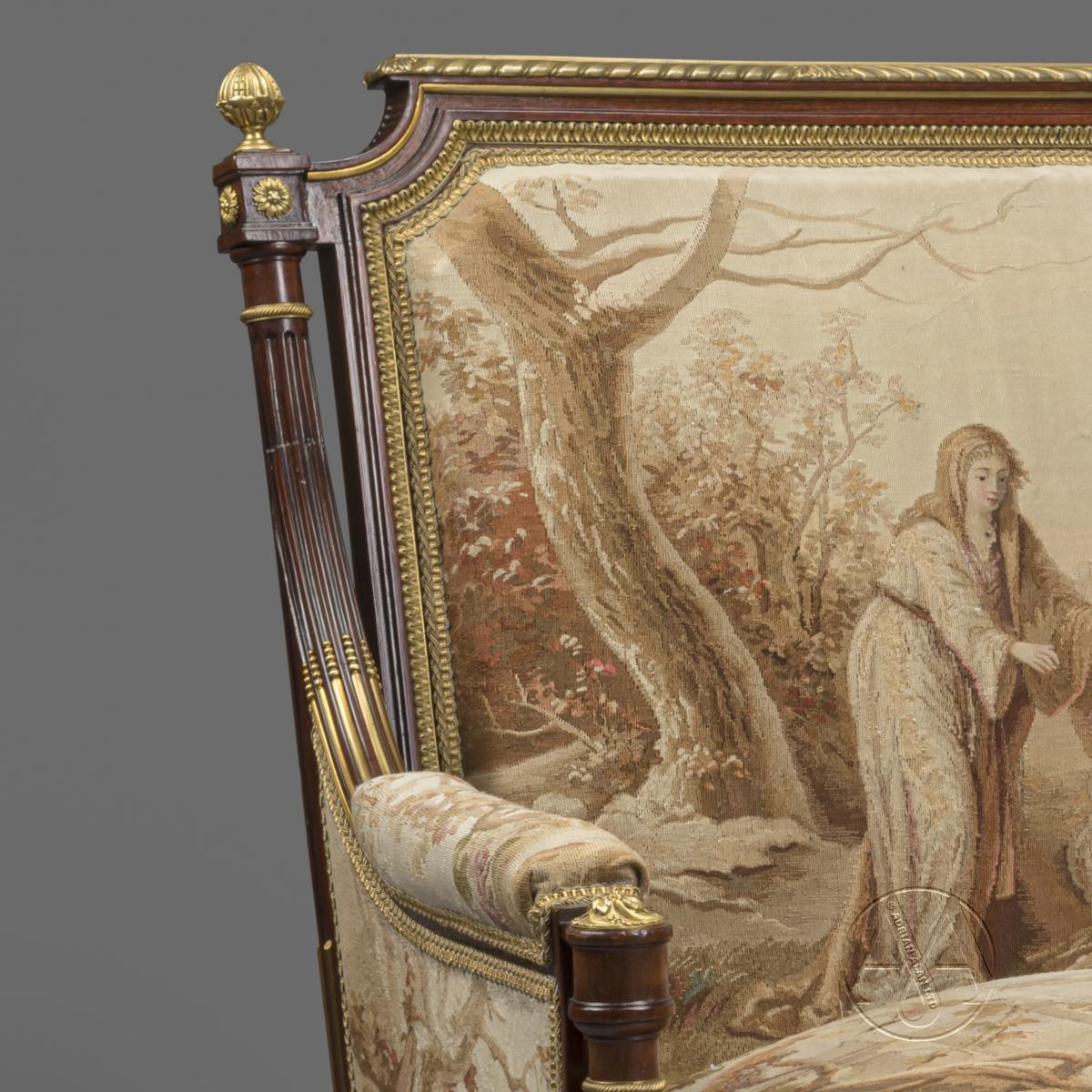 Gilt-Bronze Mounted Mahogany and Aubusson Tapestry Upholstered Bergeres