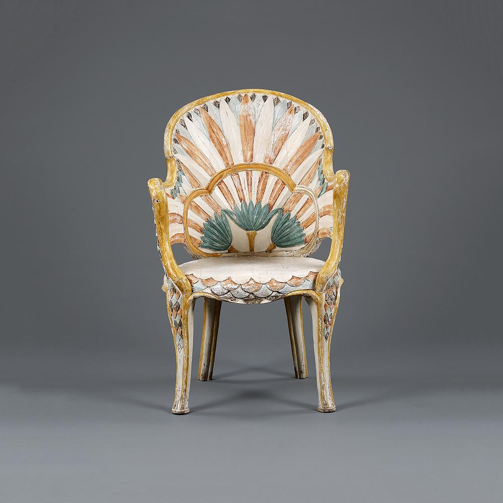An Indian Art Deco Egyptian Revival chair