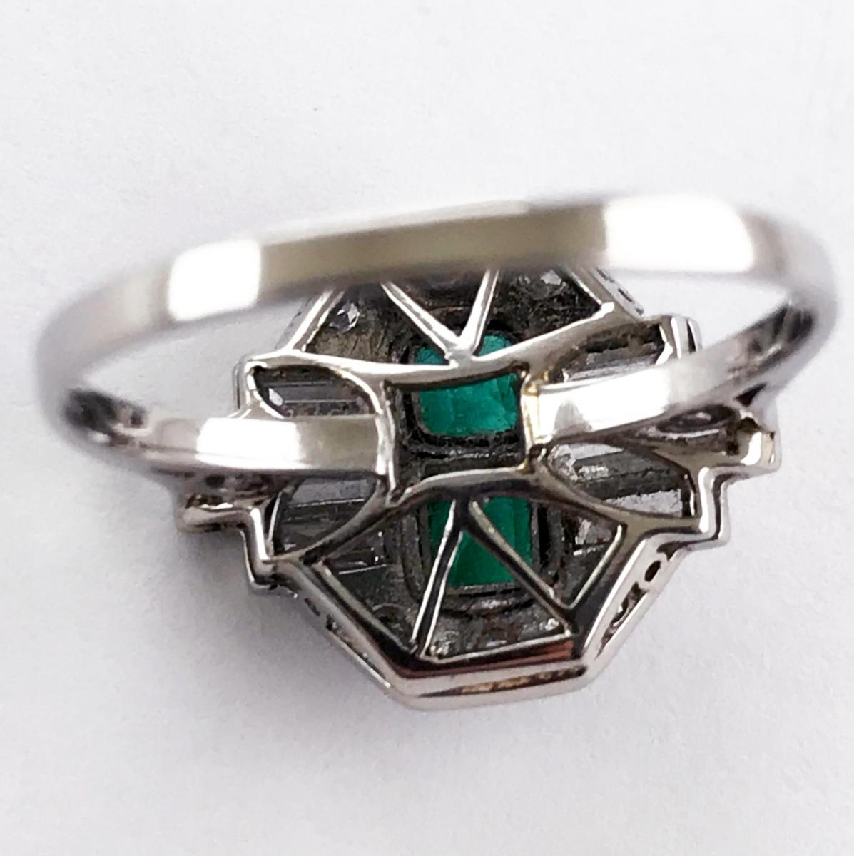 Platinum Art Deco Emerald and Diamond Ring, Circa 1920