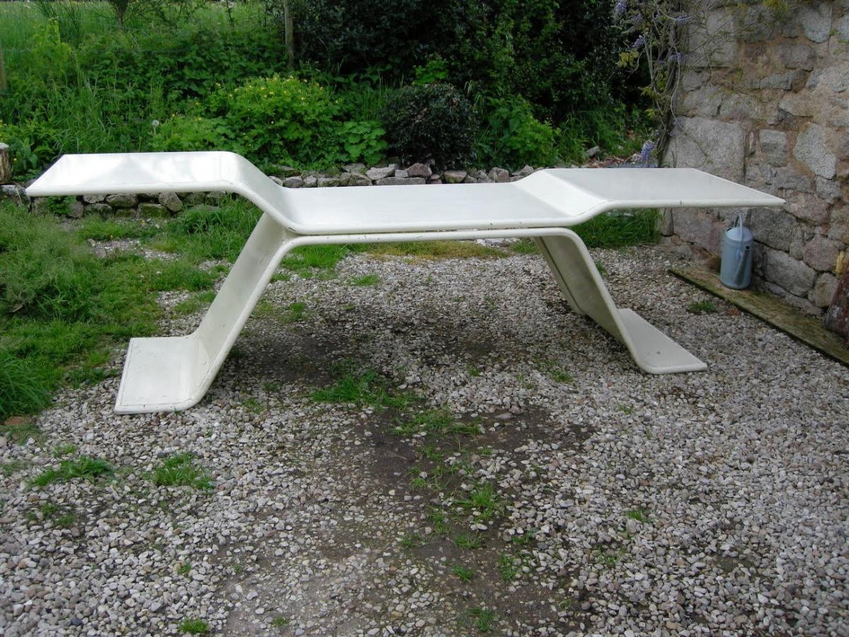 Stunning bespoke pale cream enamelled metal architects table