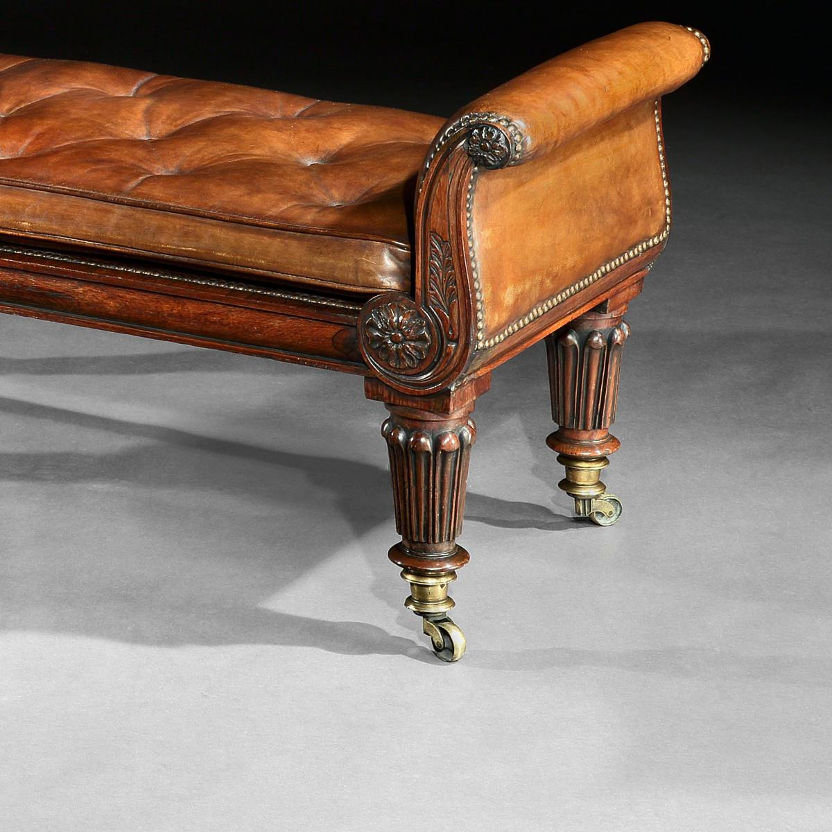 Fine Late Regency Rosewood Leather Upholstered Window Seat