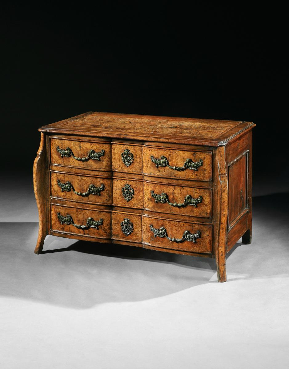 Rare Early 18th Century Louis XV Provincial Burr Elm Mazarin Commode