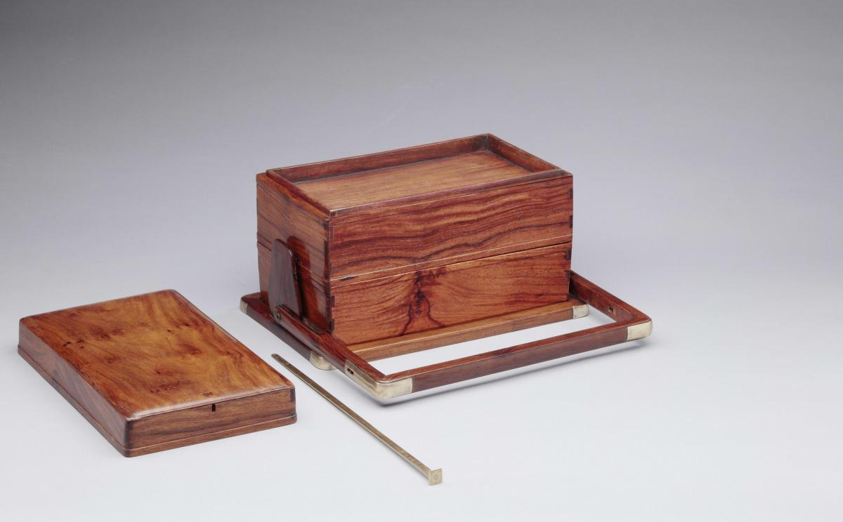A huanghuali 'picnic box' of three tiers, Chinese, Qing dynasty, 18th century