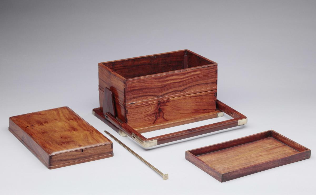 A huanghuali 'picnic box' of three tiers, Chinese, Qing dynasty, 18th century - open