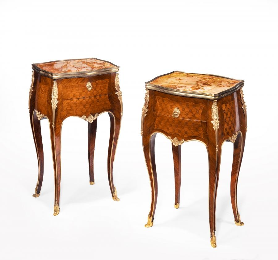 Stamped Gillows A Pair of French Ormolu Mounted Rosewood and Kingwood Parquetry Bedside Tables