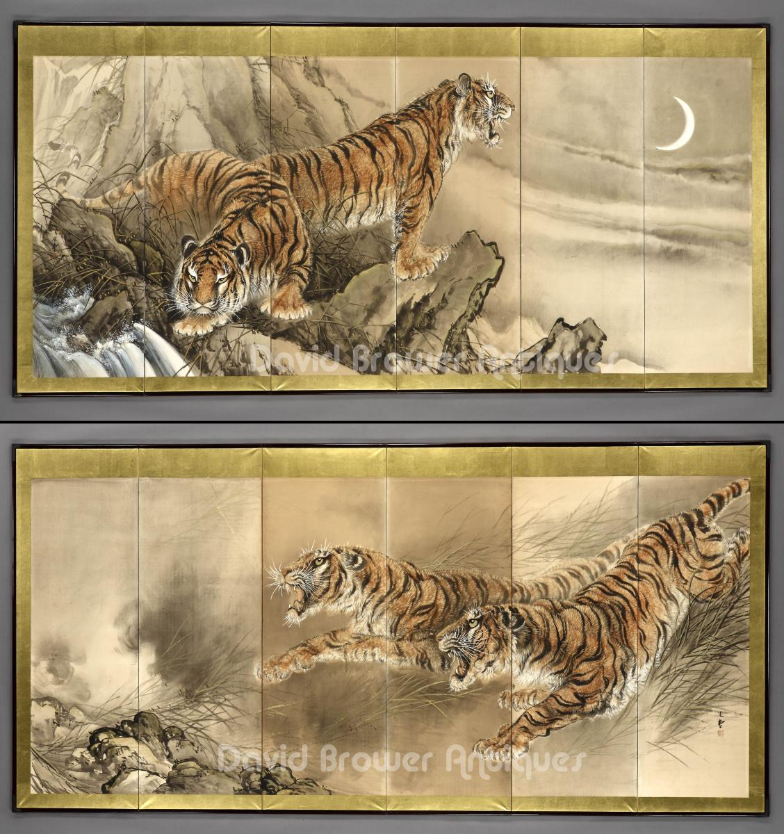 6 fold Japanese paper screens depicting 2 tigers