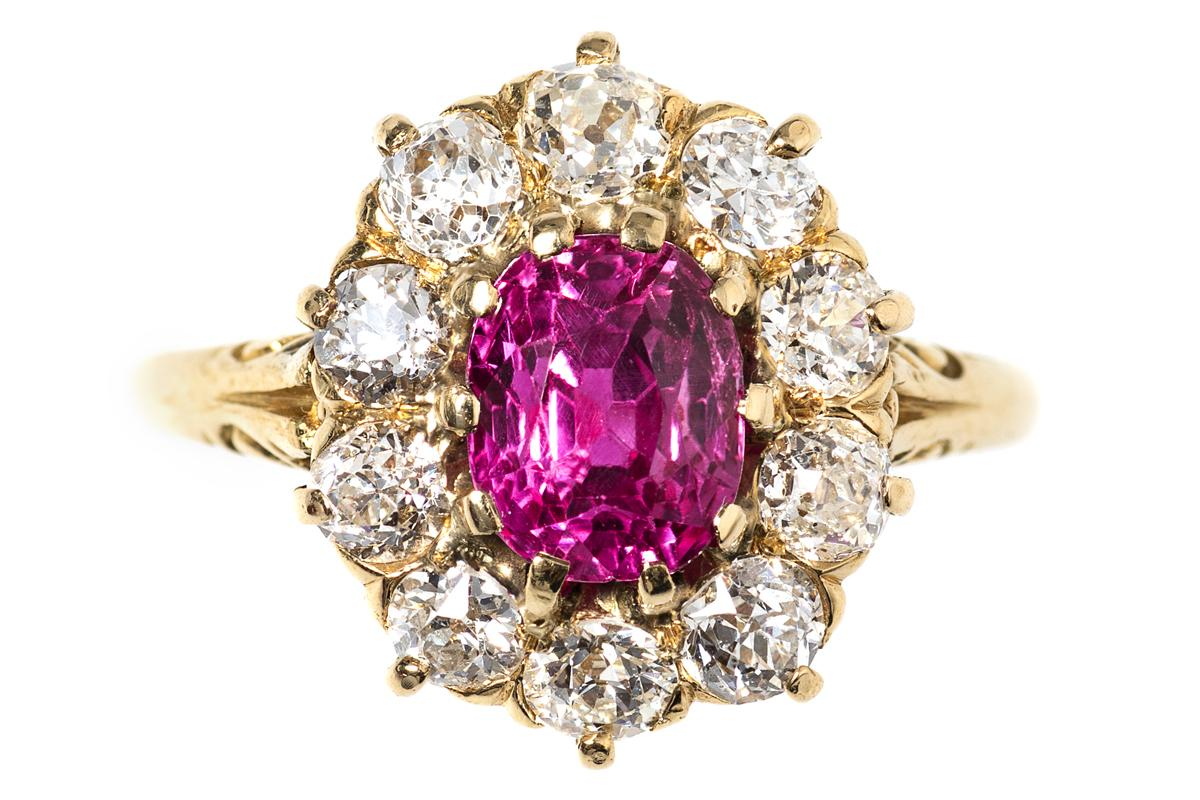 Victorian Ring with Burma Ruby and Diamonds in 18 Carat Gold, English circa 1890