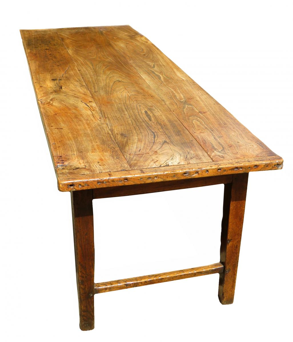 Large 18th Century English Elm Farmhouse Kitchen Dining Table