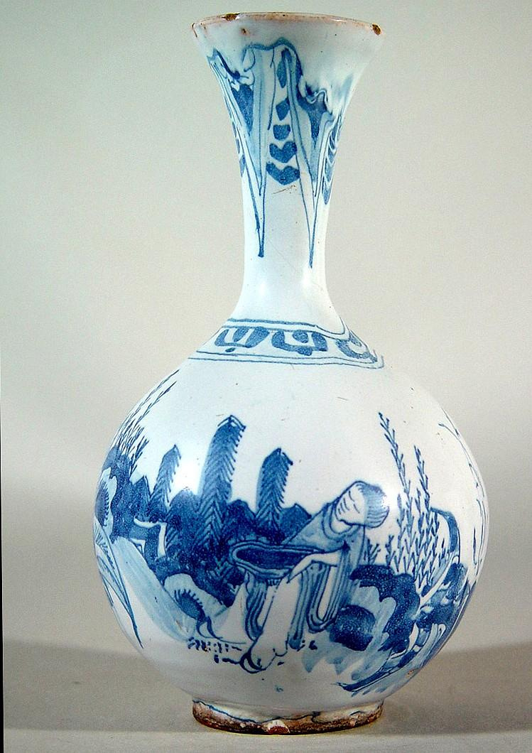 German Faience Blue & White Chinoiserie Trumpet-neck Bottle Vase, Circa 1680-90