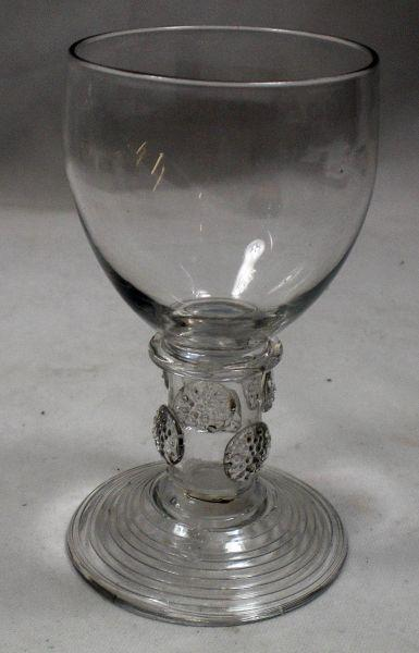 A rare crystal glass roemer with trailing to foot English c.1780
