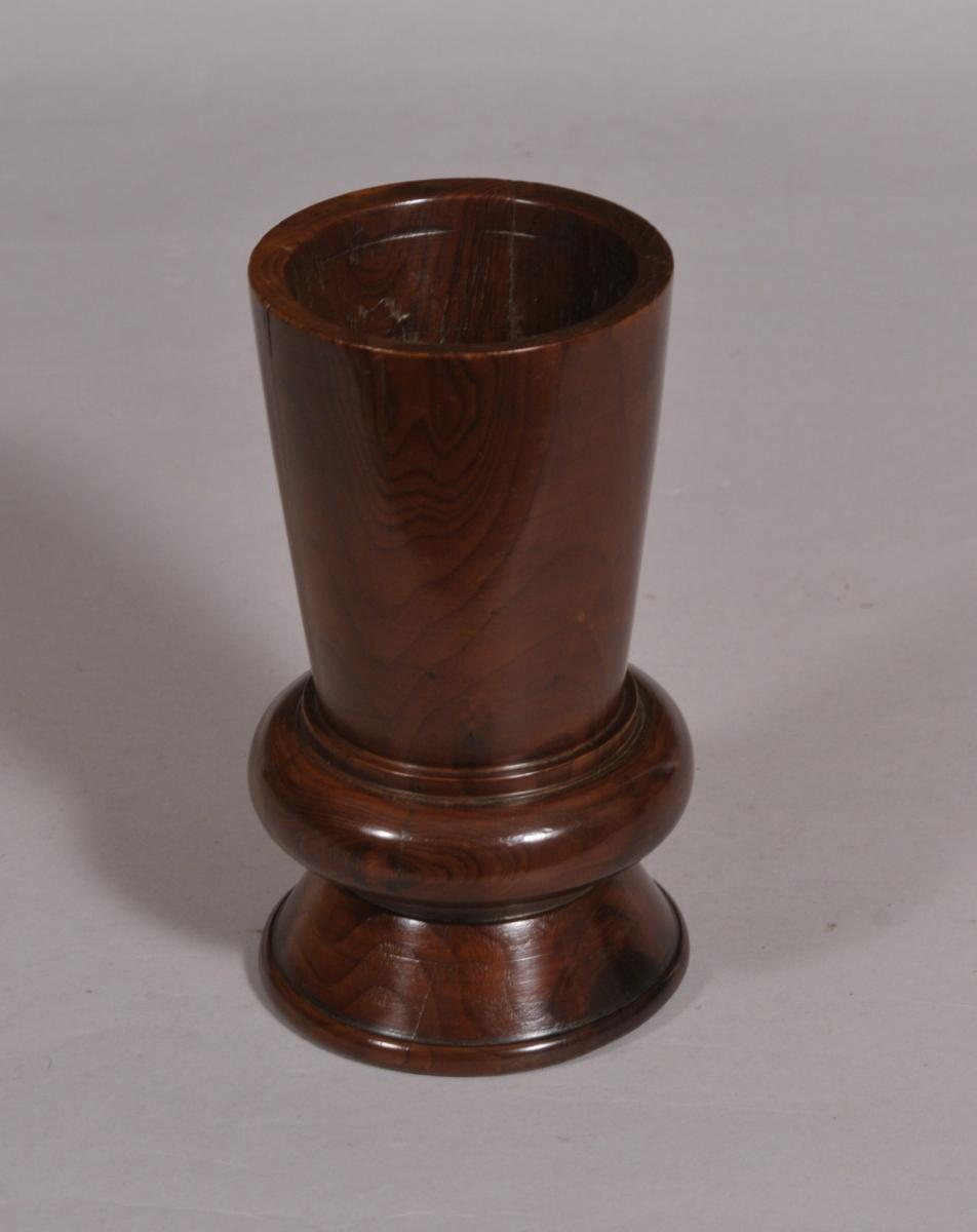 S/4376 Antique Treen 19th Century Yew Wood Spill Vase