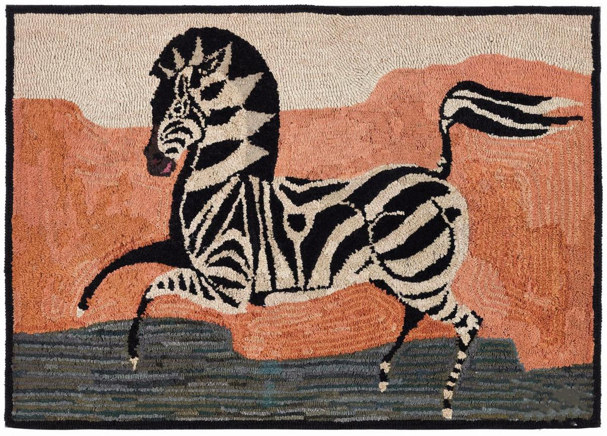 American Hooked Rug Depicting a Zebra, Early 20th Century