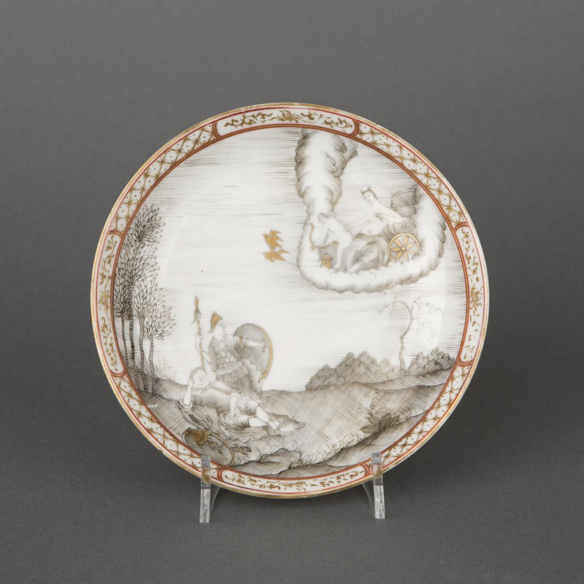 A Chinese export porcelain grisaille saucer, Qianlong, 1736-1795