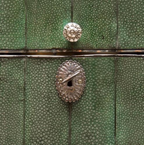 Detail of the lock and key on a shagreen box