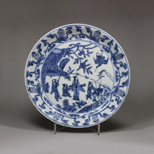 Chinese blue and white dish, Wanli mark and period (1573-1619)