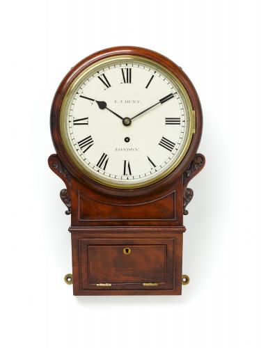 A Fine Mahogany Drop Dial Wall Timepiece by E. J. Dent, London