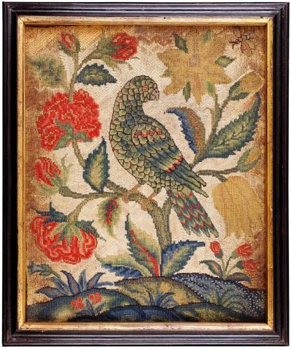 18th Century Canvas Work Picture of a Parrot