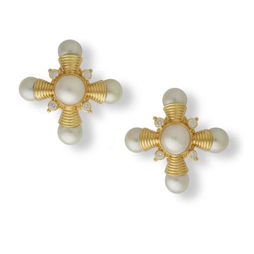 Elizabeth Gage 18ct yellow gold, diamond and pearl earclips