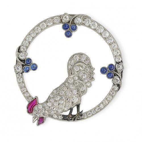 1920's diamond, sapphire and ruby brooch