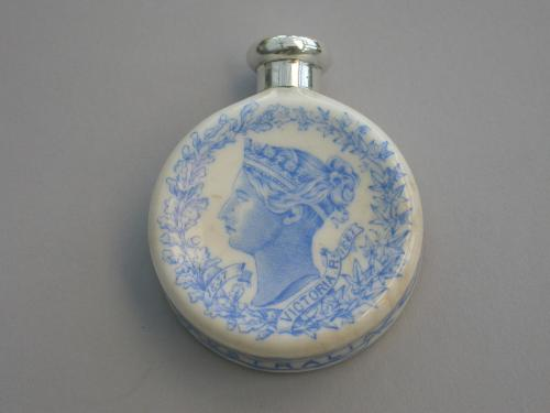 Silver Mounted Royal Worcester Porcelain Queen Victoria's Golden Jubilee Scent Bottle