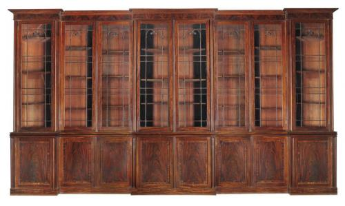 Very Large Triple Breakfront Mahogany Bookcase Attributed to Gillows