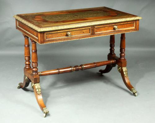 Regency brass inlaid writing table in the manner of Louis le Gaigneur