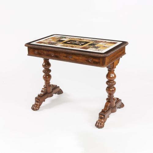 Georgian Library Table with Specimen Marble Top in the manner of Gillows