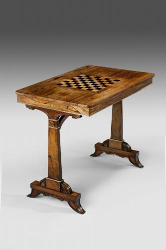 Regency Brass-Mounted Rosewood and Marquetry Games Table in the Manner of Seddon - England, circa 1820