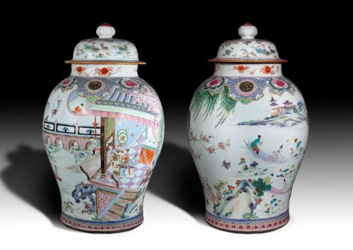Chinese 'Famille-Rose' Vases And Covers, Qing Dynasty, Yongzheng Period, 1723 - 1735
