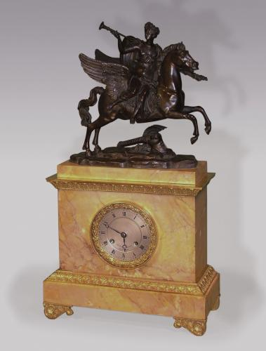 Early 19th Century French Bronze, Ormolu and Sienna Marble Mantel Clock
