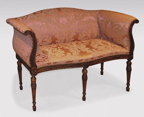 Attractive Adam Period Carved Mahogany Window Seat Upholstered in Red Damask