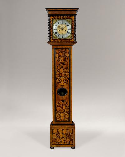 Robert Dingley London - a 11 inch floral marquetry longcase clock, circa 1690