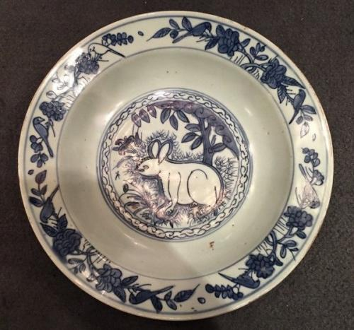 A Chinese Blue and White Porcelain 'Hare' Dish, Ming Dynasty, Jiajing Period