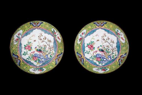 A Pair of Canton Enamel Saucer Shaped Dishes