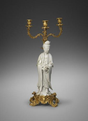 A Chinese Dehua Blanc De Chine Figure of a Guanyin