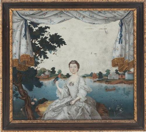 Chinese Export 'European-Subject' Reverse Glass Painting