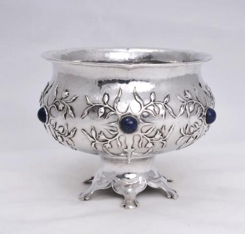 An unusual and rare Gilbert Leigh Marks stone set silver bowl