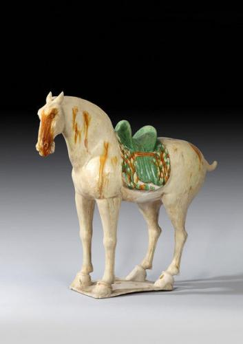 A Fine Chinese Sancai Glazed Pottery Horse, Tang Dynasty