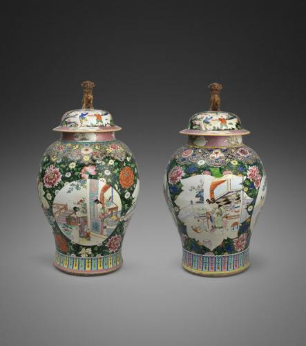 A pair of Chinese 'Famille-Rose' porcelain baluster jars & covers
