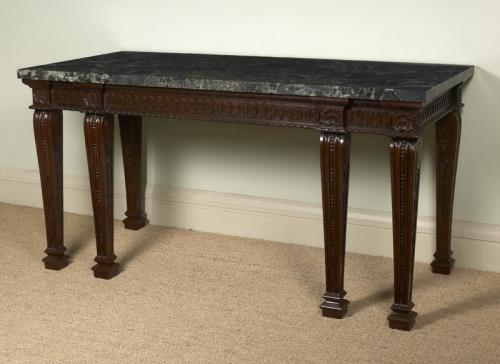 Unusual carved mahogany side table with marble top