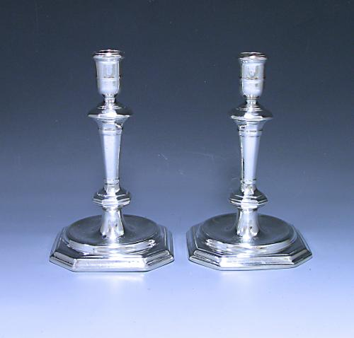 Pair of Queen Anne Silver Candlesticks  by Simon Pantin 1712