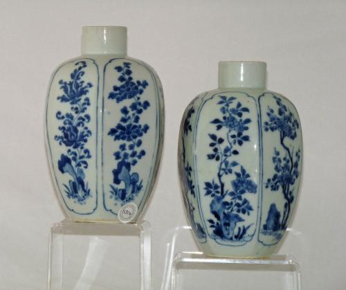 Kangxi  / Late Transitional Pair of Hexagonal Blue and White jars